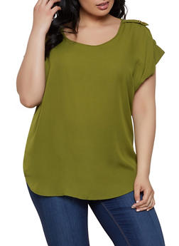 Plus Size Tabbed Shoulder Blouse - 1803051068764