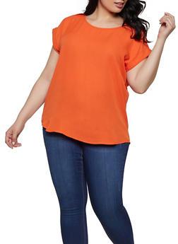 Plus Size Tabbed Shoulder Blouse - 1803051068764