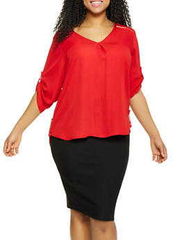 Plus Size Zipper Shoulder Detail Blouse - Red - Size 1X - 1803051069003