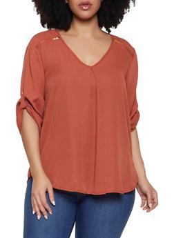Plus Size Zipper Shoulder Detail Blouse - 1803051069003