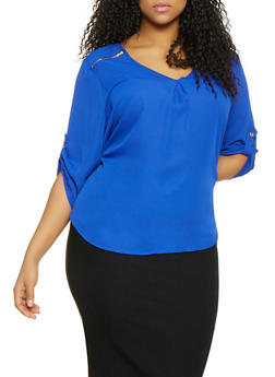 Plus Size Zipper Shoulder Detail Blouse - 1803051069003