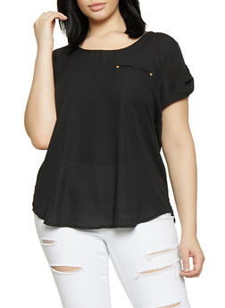 Plus Size Scoop Neck Black Shirt