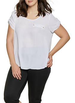 Plus Size Tabbed Sleeve Blouse - 1803051069116