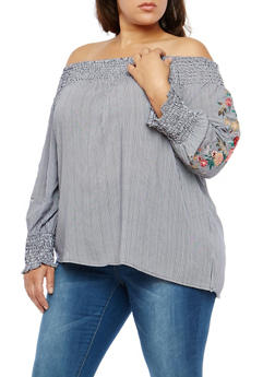 Plus Size Embroidered Sleeve Off the Shoulder Top - 1803051069277