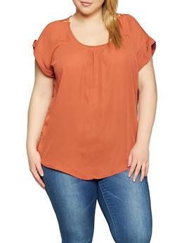 Plus Size Zip Shoulder Blouse - 1803051069565
