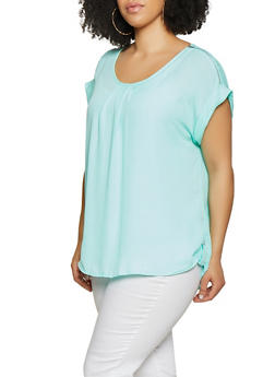 Plus Size Zip Shoulder Blouse - 1803051069566