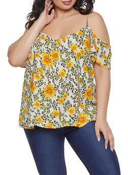 Plus Size Flutter Sleeve Printed Off the Shoulder Top - OLIVE - 1803051069592