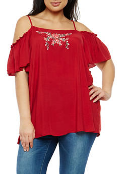 Plus Size Floral Embroidered Off the Shoulder Top - 1803051069650