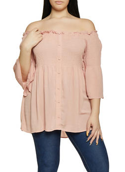 Plus Size Bell Sleeve Off the Shoulder Babydoll Top - 1803051069666
