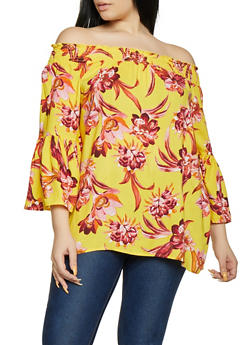 Plus Size Floral Off the Shoulder Smocked Top - 1803051069774