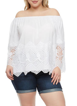 Plus Size Crochet Trim Off the Shoulder Top - 1803051069860