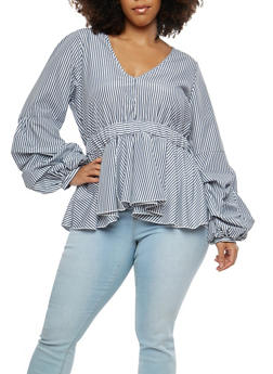 Plus Size Striped Long Sleeve Ruffle Hem Top - 1803051069907