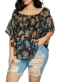 Plus Size Off the Shoulder Smocked Floral Top - 1803051069915