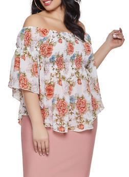 Plus Size Off the Shoulder Smocked Floral Top - 1803051069915