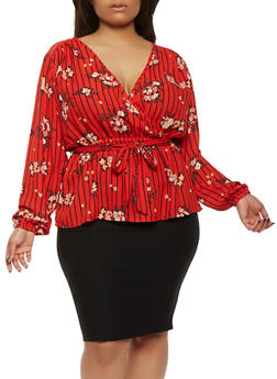 Plus Size Floral Faux Wrap Top - 1803051069963