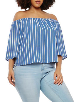Plus Size Striped Off the Shoulder Top - 1803054260057