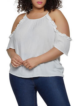 Plus Size Ruffle Cold Shoulder Top - 1803054260734