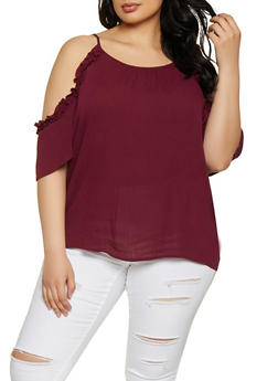 Plus Size Ruffle Cold Shoulder Top - 1803054260734