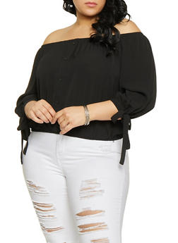 Plus Size Off the Shoulder Tie Sleeve Top - 1803054260738