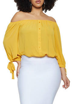 cd587d6bbff9d Plus Size Off the Shoulder Tie Sleeve Top - 1803054260738