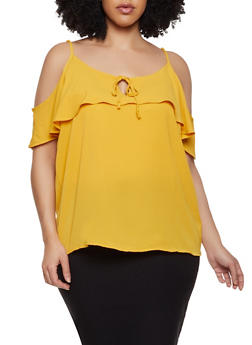 Plus Size Tie Keyhole Cold Shoulder Top - 1803054260819