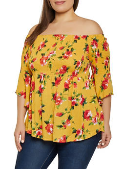 Plus Size Floral Bell Sleeve Off the Shoulder Top | 1803054265948 - 1803054265948