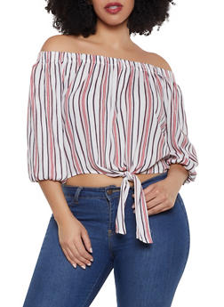 Plus Size Tie Front Off the Shoulder Striped Top - 1803054266599