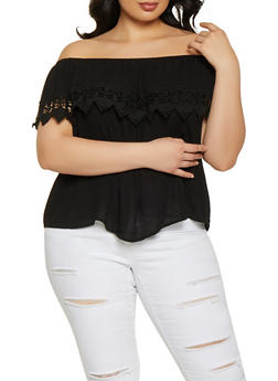 Plus Size Ruffle Crochet Trim Off the Shoulder Top - 1803054266944