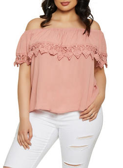 f5cabbfdd69 Plus Size Ruffle Crochet Trim Off the Shoulder Top - 1803054266944