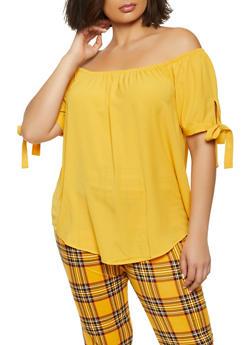 Plus Size Off the Shoulder Crepe Knit Top - 1803054267115