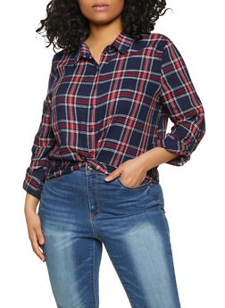 Twist Button Front Plaid Shirt - 1803054267170