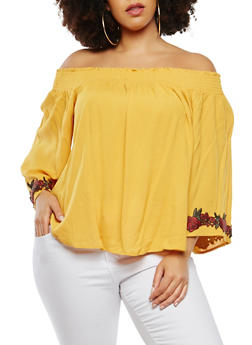 Plus Size Off the Shoulder Peasant Top - 1803054268979