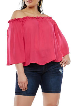 Plus Size Off the Shoulder Top - 1803054269706