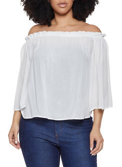 7f7bbddeb5e08f Plus Size Solid Off the Shoulder Top - 1803054269707