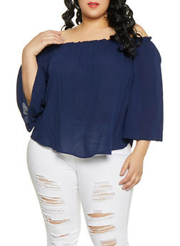d3600ff6f0e Plus Size Solid Off the Shoulder Top - 1803054269707