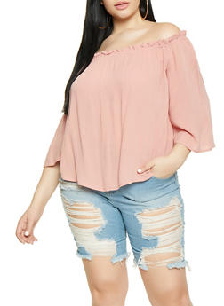 Plus Size Solid Off the Shoulder Top - 1803054269707