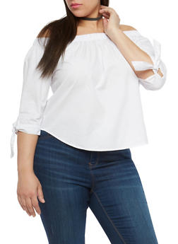 Plus Size Tie Sleeve Off the Shoulder Top - 1803054269745