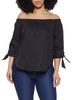 79cc2119bf3f0f Plus Size Tie Sleeve Off the Shoulder Top - 1803054269746