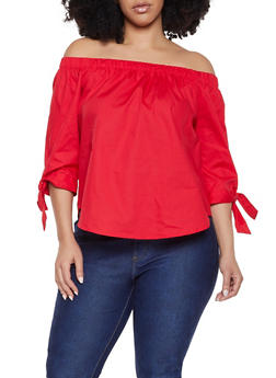 cc501a60e5b Plus Size Tie Sleeve Off the Shoulder Top - 1803054269746