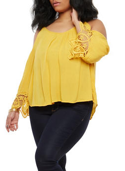 Plus Size Crochet Trim Cold Shoulder Top - 1803054269836