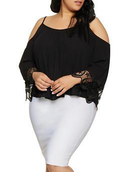 Plus Size Crochet Sleeve Trim Cold Shoulder Top - 1803054269837