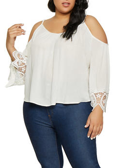 Plus Size Crochet Sleeve Trim Cold Shoulder Top - 1803054269837