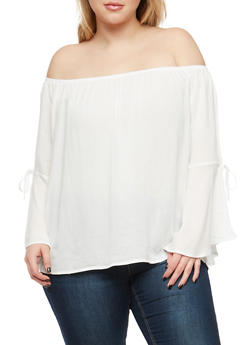 Plus Size Off the Shoulder Peasant Top - 1803054269850