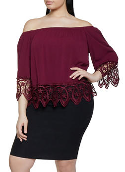 Plus Size Off the Shoulder Crochet Trim Top | 1803054269866 - 1803054269866