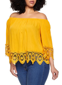 86e612750f0de Plus Size Off the Shoulder Crochet Trim Top