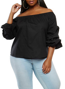 Plus Size Bubble Sleeve Off the Shoulder Top - 1803054269943