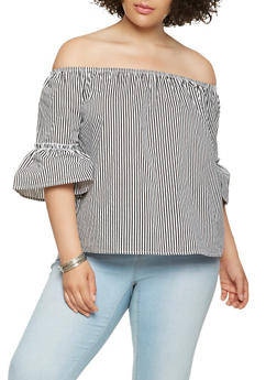 Plus Size Striped Off the Shoulder Top - 1803054269954