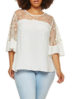 Plus Size Embroidered Mesh Trim Top - 1803056120033