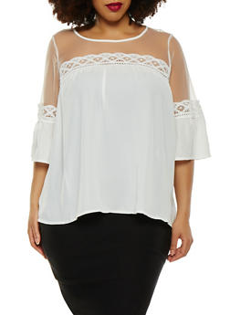 Plus Size Crochet Trim Mesh Yoke Top - 1803056120089
