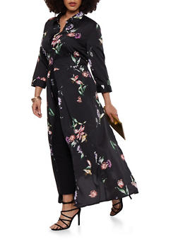 Plus Size Floral Satin Maxi Top - 1803056120426